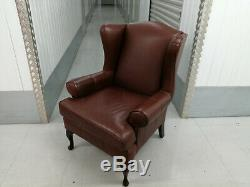 Elegant Wingback Armchair Brown Leather Wing Back, Fireside 1/2 Quality