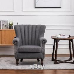 Fabric Armchair Scalloped Oyster Back Wing Chair Living Room Fireside Sofa Seat