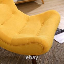 Fabric High Back Armchair Shell Egg Chair Chaise Longue Sofa with Stool Fireside
