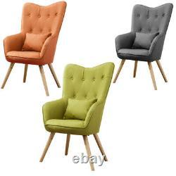 Fabric Linen High Back Wing Chair Fireside Button Accent Tub Chair Armchair Sofa