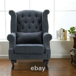 Fabric Upholstered Chesterfield Queen Anne Wing Back Armchair Fireside Sofa Seat