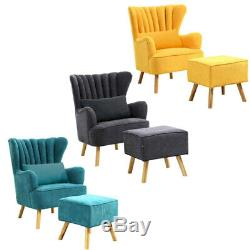 Fabric Winged Fluted Back Armchair Fireside Sofa Tub Chair with Footstool+Pillow
