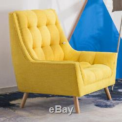 Fashion Yellow Wing Back Armchair Chenille Fabric Chair Fireside with Foot Stool