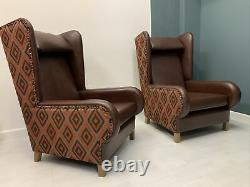 Fireside Aztec Wing High Back Arm Chair New Upholstery Oak Antique Style