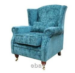 Fireside High Back Armchair Nuovo Kingfisher Blue Fabric Wing Chair