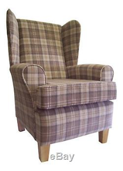 Fireside Wing Back Arm Chair Beautiful Lana Cream Fabric Wooden Legs Free