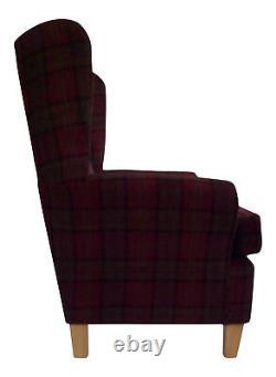 Fireside Wing Back Arm Chair Stunning Burgundy Tartan Fabric