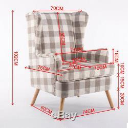 Fireside Wing Back Armchair Beige Check Tartan Tub Chair Lounge Queen Anne Sofa