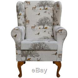 Fireside Wingback Chair in Tatton Autumn Fabric FREE UK DELIVERY