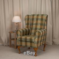 Fireside Wingback Chair in a Kintyre Pampas Green Tartan Fabric