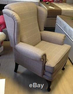 Fireside wingback chair, Grey Check Fabric