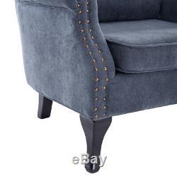 Grey Chesterfield Armchair Queen Anne High Back Fireside Wing Velvet Chair Sofa