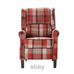 Grey Red Push Back Recliner Armchair Wing Back Fireside Check Fabric Sofa Couch