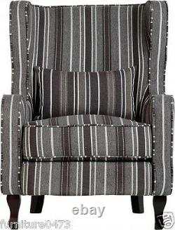 Grey Stripe Fabric Fireside Chair W77cm x D91cm x H102cm SHERRY