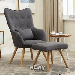 Grey Upholstered Wingback Chair High Back Armchair Fireside with Foot Stool Sofa