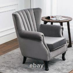Grey Velvet Armchair Oyster Scallop Wing Back Chair Fireside Bedroom Lounge Sofa