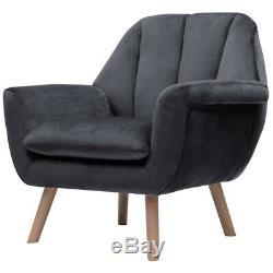Grey Velvet Occasional Wing Back Armchair Shelled Back Tub Chair Fireside Lounge