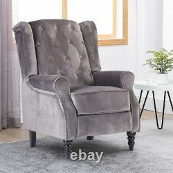 Grey Velvet Recliner Chair Button Tufted Fireside Armchair Home Living Room BN
