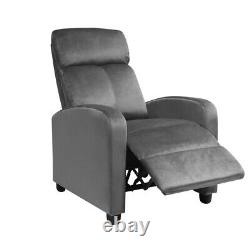 Grey Wing Back Fireside Padded Velvet Recliner Armchair Sofa Lounge Chair Seat