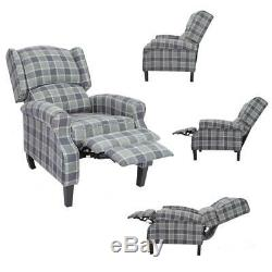 Grey Wing Back Tartan Fabric Armchair Check Sofa Fireside Recliner Chair