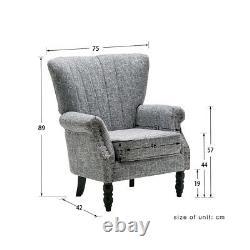 Grey Wing Chair High Back Fabric Linen Tub Armchair Fireside Living Room UK