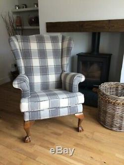Grey wing chair wingback chairs Parker knoll style fireside chair