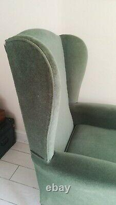 HSL Wing Back Armchair Fireside Chair Queen Anne Legs Wood Frame Green Fabric
