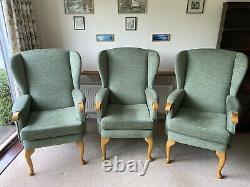 HSL Wing Back Chair Kilburn Plain Duck Green Fireside 3 Available