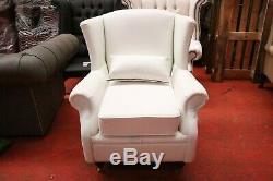 Handmade Modern Fireside White Wing Chair High Back Premium Real Leather