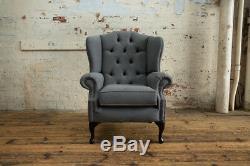 Handmade Modern Grey Wool Chesterfield Wing Armchair, High Back Fireside Chair