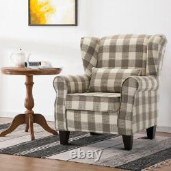 Hemp Fabric Wing Back Fireside Armchair Lounge Sofa Padded Seat withCushion