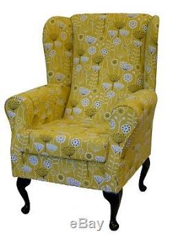 High Back Armchair Bergen Ochre Flora Fabric Wing Chair Seat Queen Anne Fireside