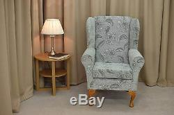 High Back Armchair Grey Fabric Wing Chair Seat Queen Anne Fireside Living Room