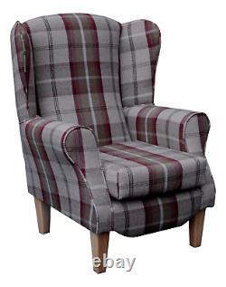 High Back Armchair Mulberry Tartan Fabric Wing Chair Queen Anne Fireside