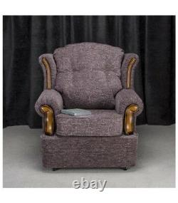High Back Armchair Plum Fabric Wing Chair Queen Anne Fireside Living Room Lounge