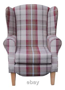 High Back Armchair Red Tartan Fabric Wing Chair Queen Anne Fireside Living Room