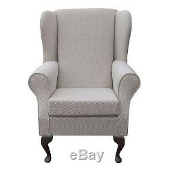 High Back Armchair Slate Fabric Wing Chair Seat Queen Anne Fireside Living Room