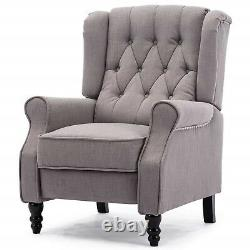 High Back Chesterfield Armchair Vintage Recliner Lounge Chair Grey Fireside Seat