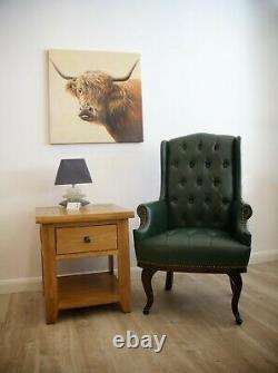 High Back Chesterfield Style PU Leather Armchair Fireside Wing Back Green
