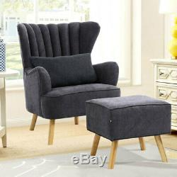 High Back Wing Armchairs Fireside Reading Chair with Relaxing Footstool Black Grey