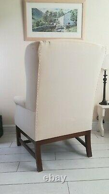 High Back Wing Back Armchair Fireside Chair Wood Frame Fabric