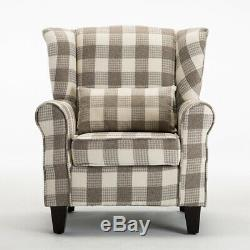 High Back Winged Chair Fireside Armchair Sofa Tartan Checked Fabric Upholstered