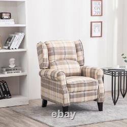 High Quality Wing Back Armchair Checkered Fabric Fireside Sofa Lounge Chair