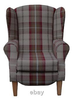 High WingBack Fireside Chair Balmoral Mulberry Fabric Duchess Armchair