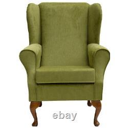 High WingBack Fireside Chair Lime Topaz Fabric Easy Armchair Orthopaedic UK