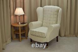 High WingBack Fireside Chair Maida Vale Check Fabric Duchess Armchair