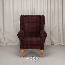 High WingBack Fireside Chair Red Tartan Fabric Easy Armchair Hardwood Legs UK