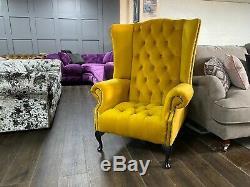 High Wing Back Armchair Fireside Fabric Chair Easy Armchair Queen Anne Legs UK