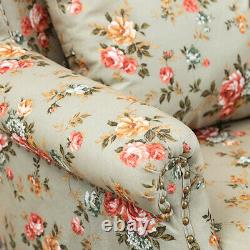High Wing Back Armchair Floral Fabric Chair Fireside Flower Seat Vintage Studded