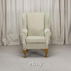 High Wing Back Armchair Mint Fabric Wing Chair Seat Fireside Living Room UK